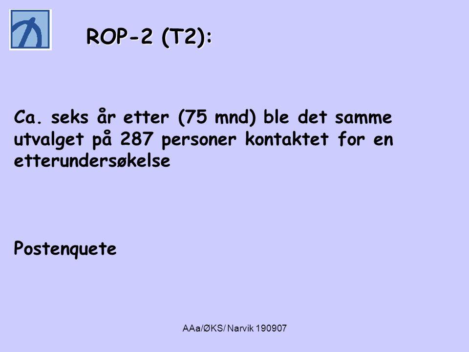 ROP-2 (T2): ROP-2 (T2): Ca. seks år etter (75 mnd) ble det samme utvalget på 287 personer kontaktet for en etterundersøkelse Postenquete