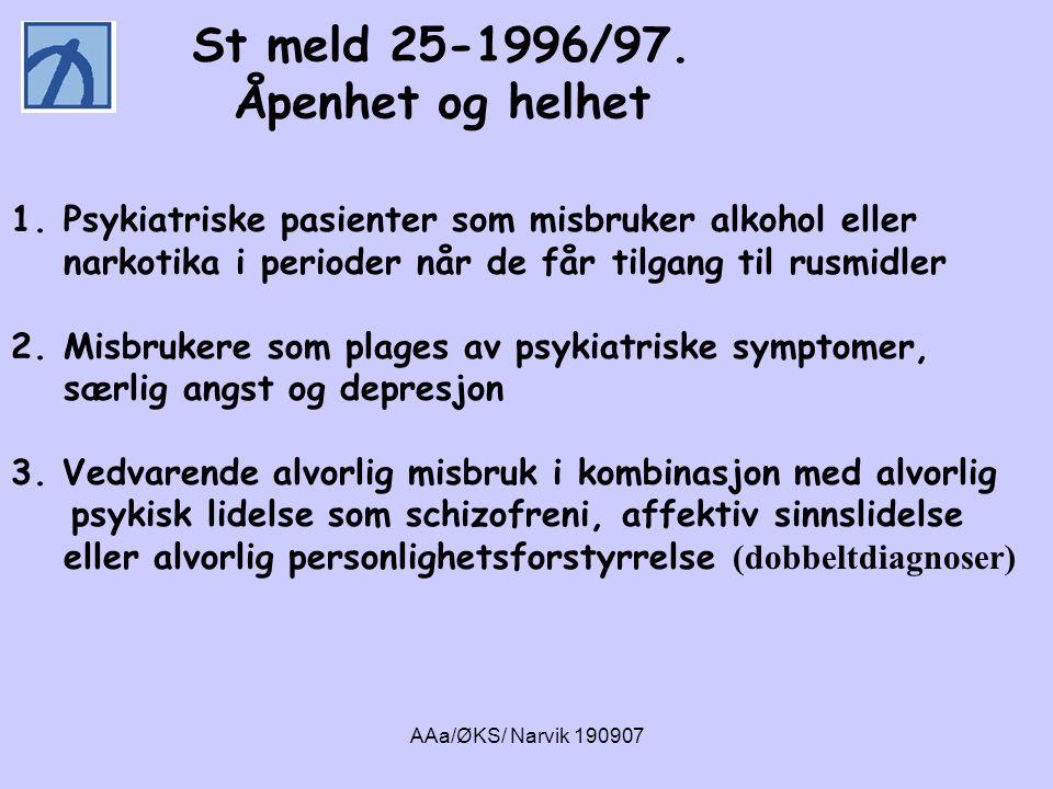 AAa/ØKS/ Narvik 190907 1.Psykiatriske pasienter som misbruker alkohol eller narkotika i perioder når de får tilgang til rusmidler 2.Misbrukere som pla