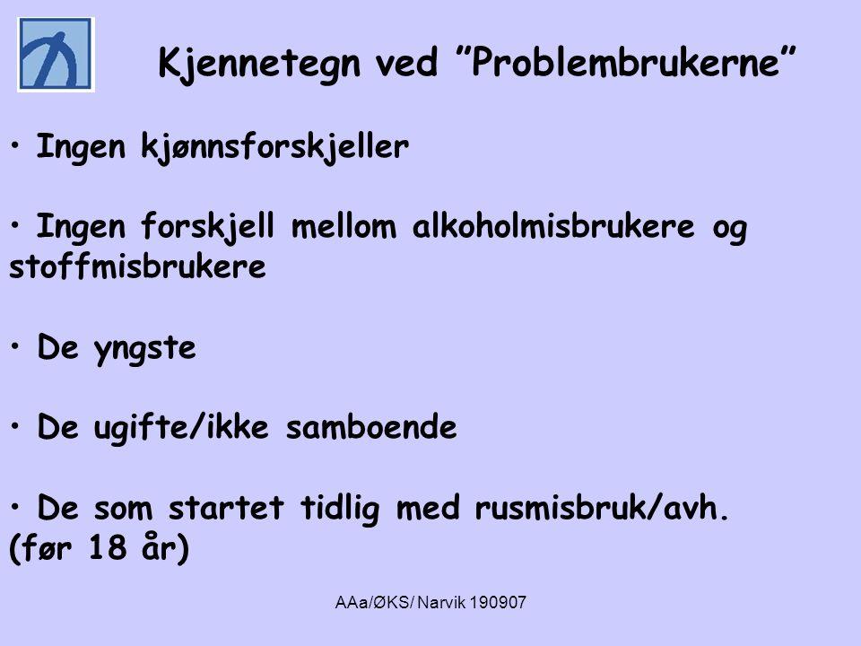 """Kjennetegn ved """"Problembrukerne"""" • Ingen kjønnsforskjeller • Ingen forskjell mellom alkoholmisbrukere og stoffmisbrukere • De yngste • De ugifte/ikke"""