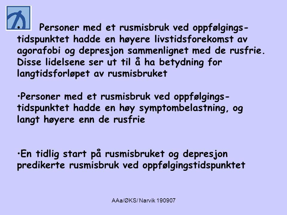 AAa/ØKS/ Narvik 190907 • Personer med et rusmisbruk ved oppfølgings- tidspunktet hadde en høyere livstidsforekomst av agorafobi og depresjon sammenlig