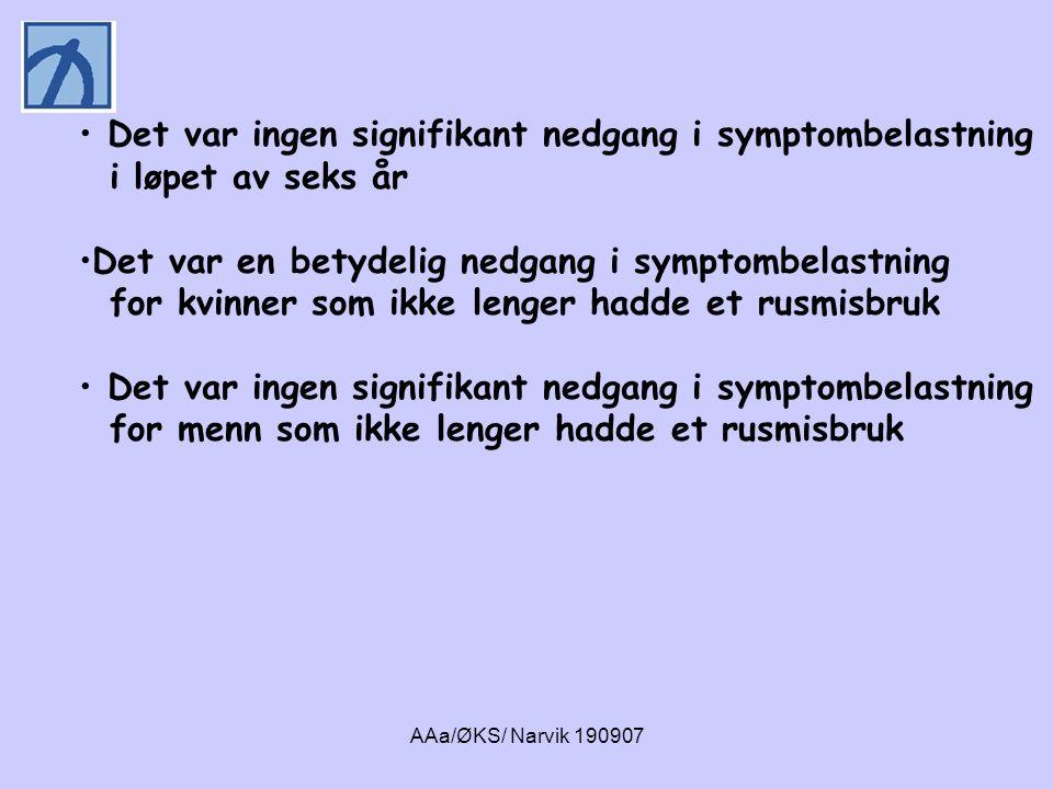 AAa/ØKS/ Narvik 190907 • Det var ingen signifikant nedgang i symptombelastning i løpet av seks år •Det var en betydelig nedgang i symptombelastning fo