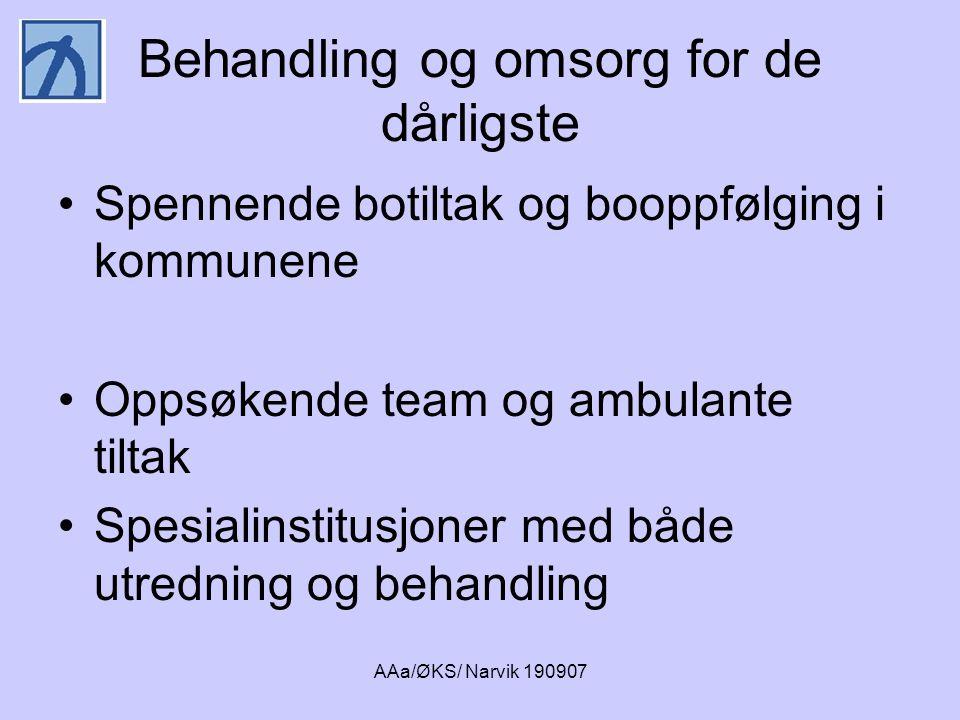 AAa/ØKS/ Narvik 190907 Behandling og omsorg for de dårligste •Spennende botiltak og booppfølging i kommunene •Oppsøkende team og ambulante tiltak •Spe