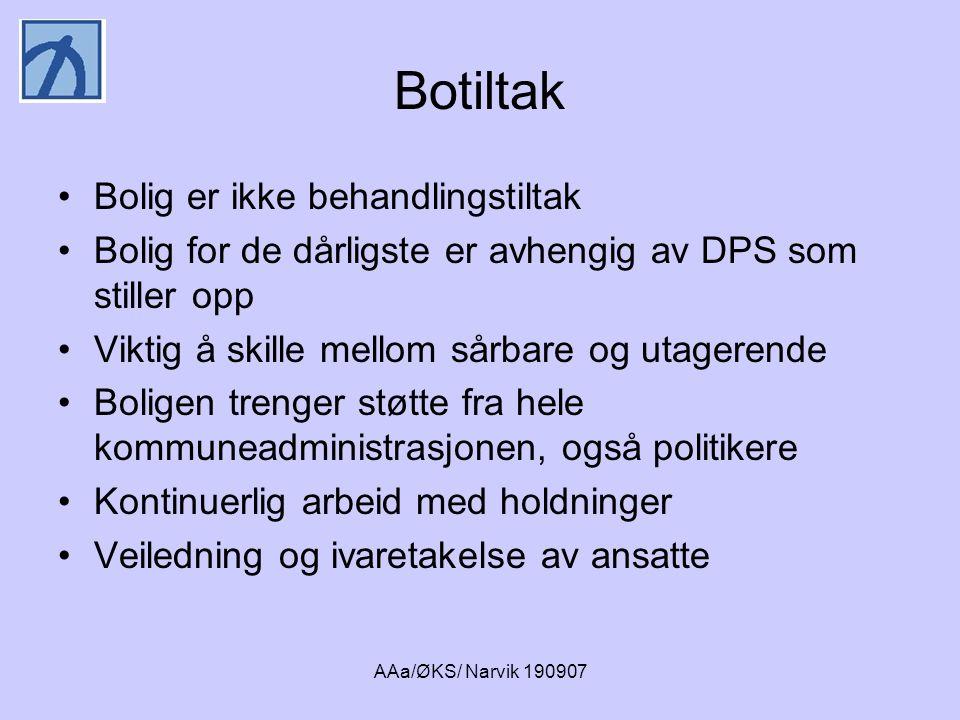 AAa/ØKS/ Narvik 190907 Botiltak •Bolig er ikke behandlingstiltak •Bolig for de dårligste er avhengig av DPS som stiller opp •Viktig å skille mellom så