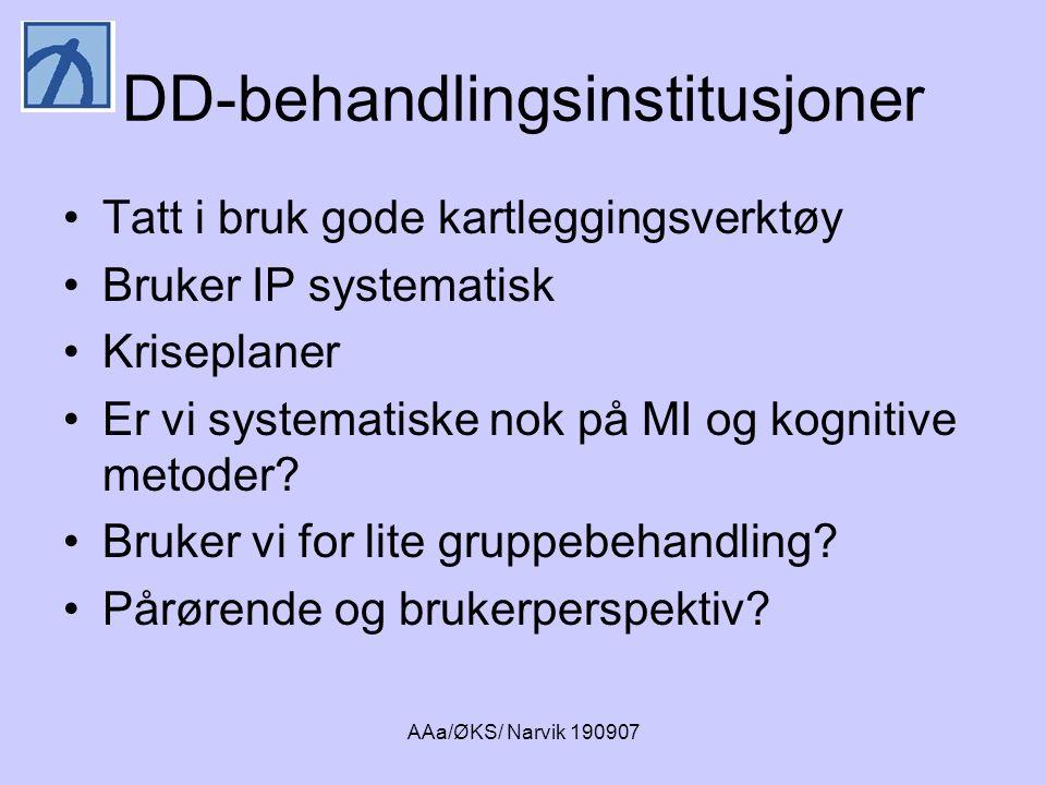 AAa/ØKS/ Narvik 190907 DD-behandlingsinstitusjoner •Tatt i bruk gode kartleggingsverktøy •Bruker IP systematisk •Kriseplaner •Er vi systematiske nok p
