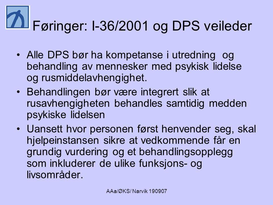 AAa/ØKS/ Narvik 190907 Føringer: I-36/2001 og DPS veileder •Alle DPS bør ha kompetanse i utredning og behandling av mennesker med psykisk lidelse og r