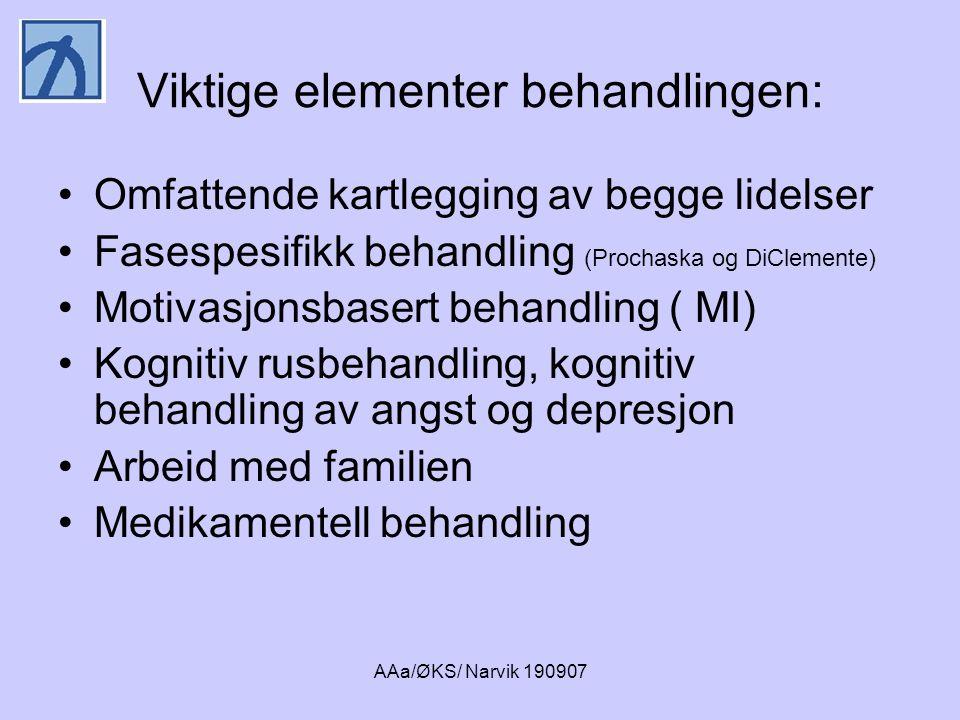 AAa/ØKS/ Narvik 190907 Viktige elementer behandlingen: •Omfattende kartlegging av begge lidelser •Fasespesifikk behandling (Prochaska og DiClemente) •