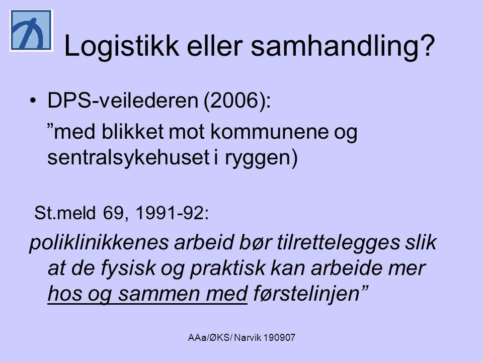"""AAa/ØKS/ Narvik 190907 Logistikk eller samhandling? •DPS-veilederen (2006): """"med blikket mot kommunene og sentralsykehuset i ryggen) St.meld 69, 1991-"""