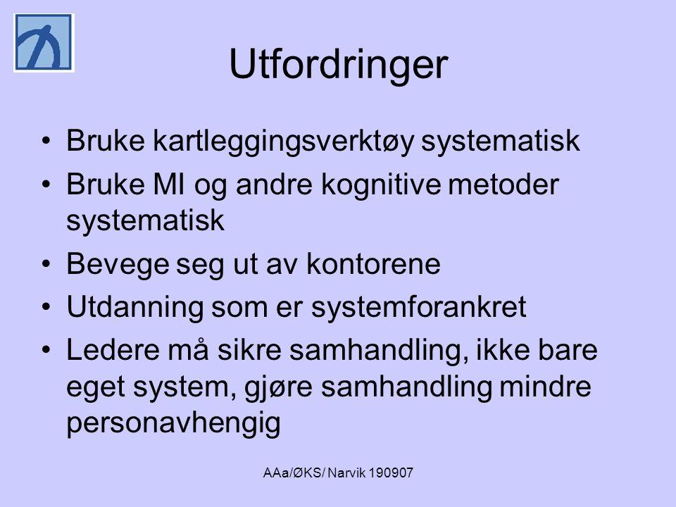 AAa/ØKS/ Narvik 190907 Utfordringer •Bruke kartleggingsverktøy systematisk •Bruke MI og andre kognitive metoder systematisk •Bevege seg ut av kontoren