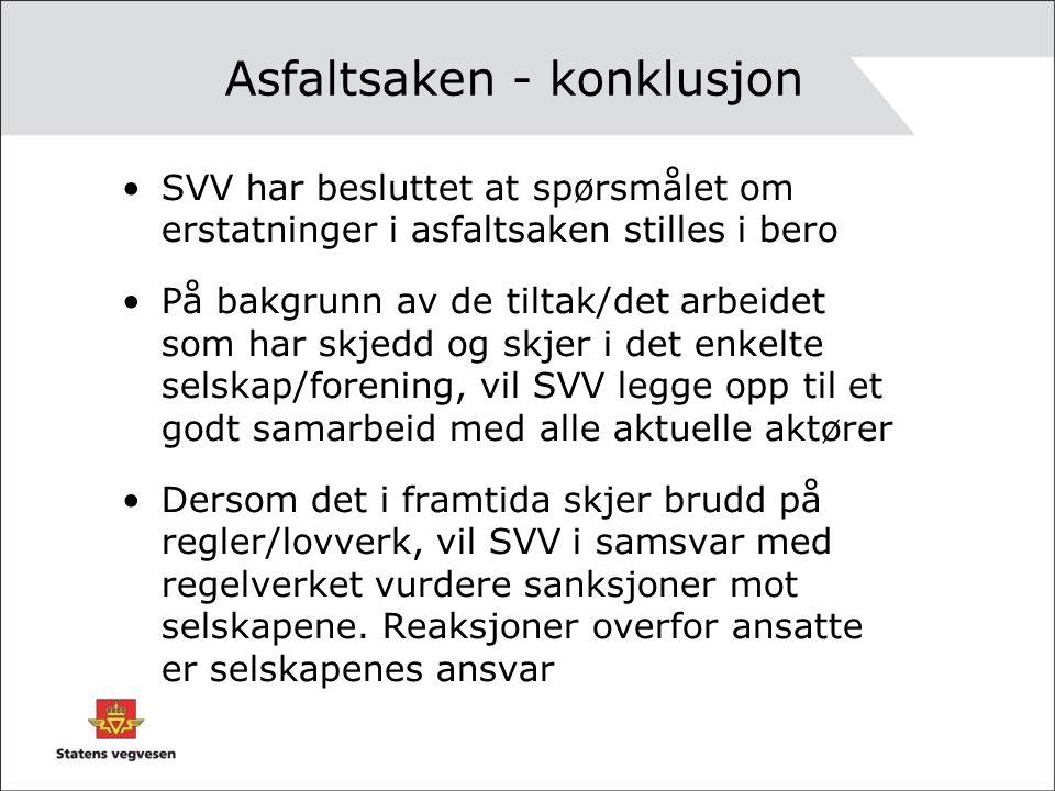 Asfaltsaken - konklusjon •SVV har besluttet at spørsmålet om erstatninger i asfaltsaken stilles i bero •På bakgrunn av de tiltak/det arbeidet som har