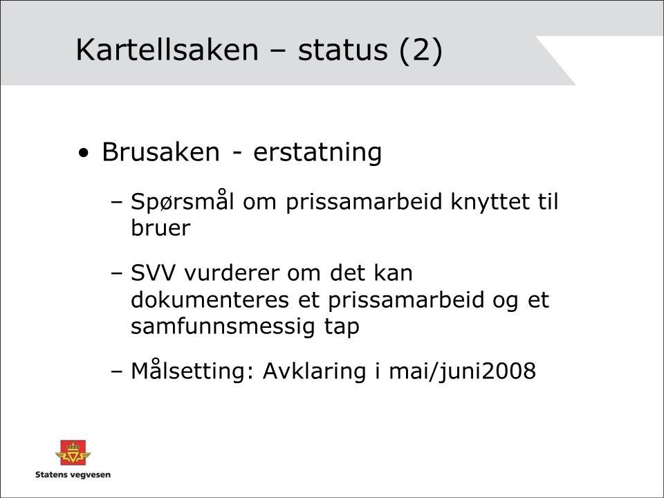 Kartellsaken – status (2) •Brusaken - erstatning –Spørsmål om prissamarbeid knyttet til bruer –SVV vurderer om det kan dokumenteres et prissamarbeid og et samfunnsmessig tap –Målsetting: Avklaring i mai/juni2008