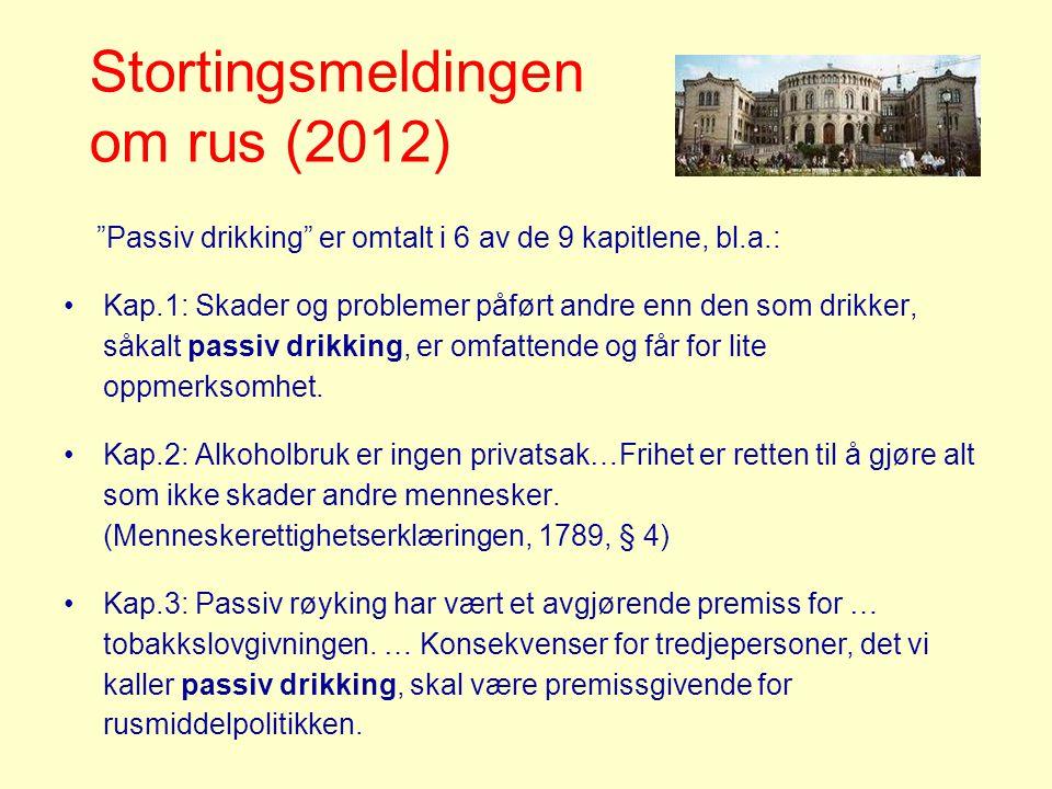 Stortingsmeldingen om rus (2012) Passiv drikking er omtalt i 6 av de 9 kapitlene, bl.a.: •Kap.1: Skader og problemer påført andre enn den som drikker, såkalt passiv drikking, er omfattende og får for lite oppmerksomhet.