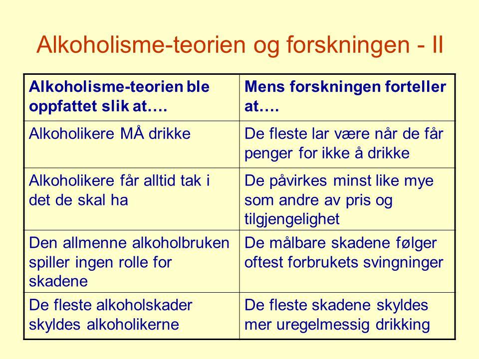 Alkoholisme-teorien og forskningen - II Alkoholisme-teorien ble oppfattet slik at….