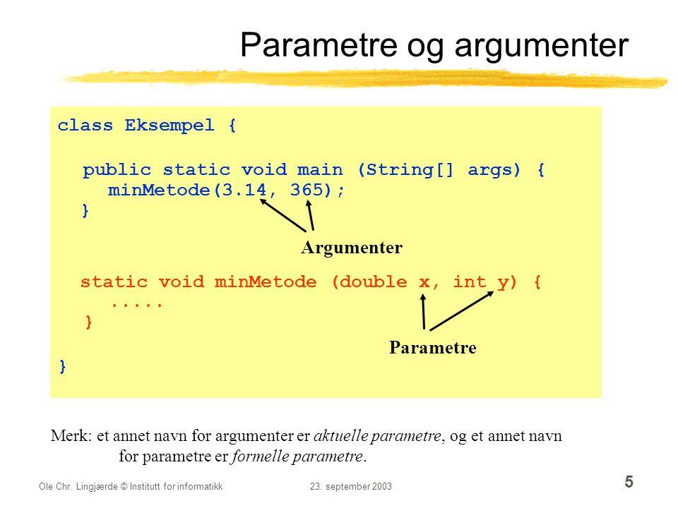 Ole Chr.Lingjærde © Institutt for informatikk23. september 2003 36 Slutter en tekst med en annen.