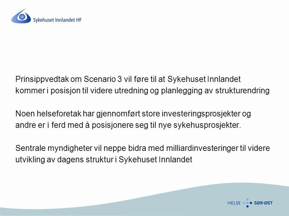 Prinsippvedtak om Scenario 3 vil føre til at Sykehuset Innlandet kommer i posisjon til videre utredning og planlegging av strukturendring Noen helseforetak har gjennomført store investeringsprosjekter og andre er i ferd med å posisjonere seg til nye sykehusprosjekter.