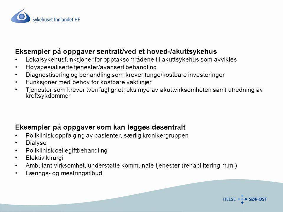 Eksempler på oppgaver sentralt/ved et hoved-/akuttsykehus •Lokalsykehusfunksjoner for opptaksområdene til akuttsykehus som avvikles •Høyspesialiserte