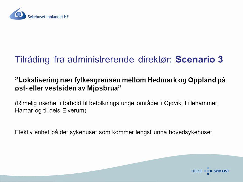 """Tilråding fra administrerende direktør: Scenario 3 """"Lokalisering nær fylkesgrensen mellom Hedmark og Oppland på øst- eller vestsiden av Mjøsbrua"""" (Rim"""