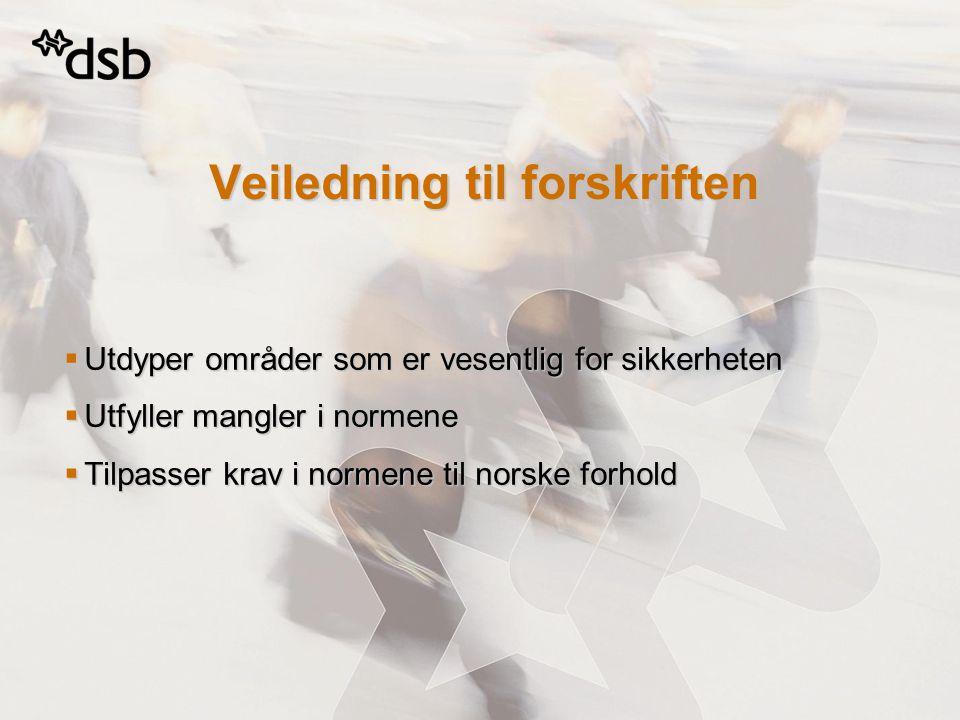 Veiledning til forskriften  Utdyper områder som er vesentlig for sikkerheten  Utfyller mangler i normene  Tilpasser krav i normene til norske forho