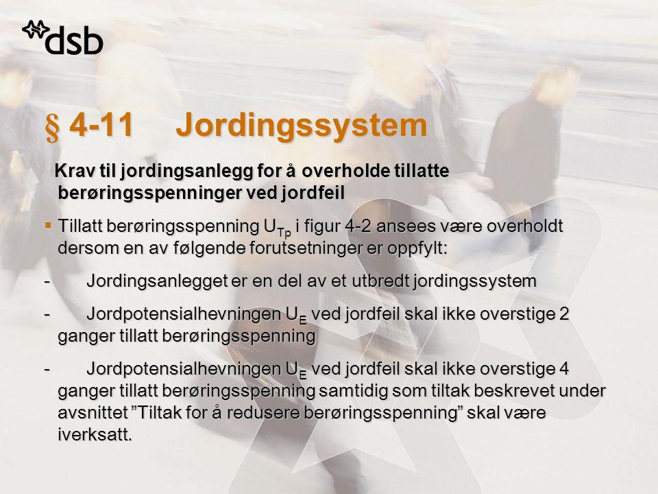 § 4-11Jordingssystem Krav til jordingsanlegg for å overholde tillatte berøringsspenninger ved jordfeil Krav til jordingsanlegg for å overholde tillatt