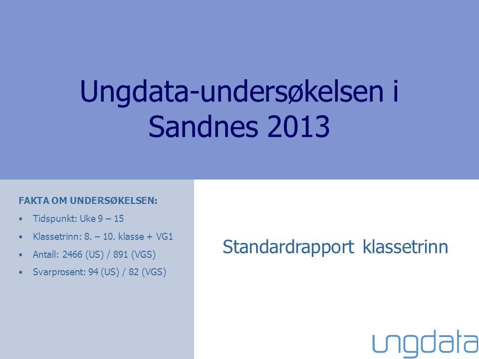 Ungdata-undersøkelsen i Sandnes 2013 Standardrapport klassetrinn FAKTA OM UNDERSØKELSEN: •Tidspunkt: Uke 9 – 15 •Klassetrinn: 8. – 10. klasse + VG1 •A