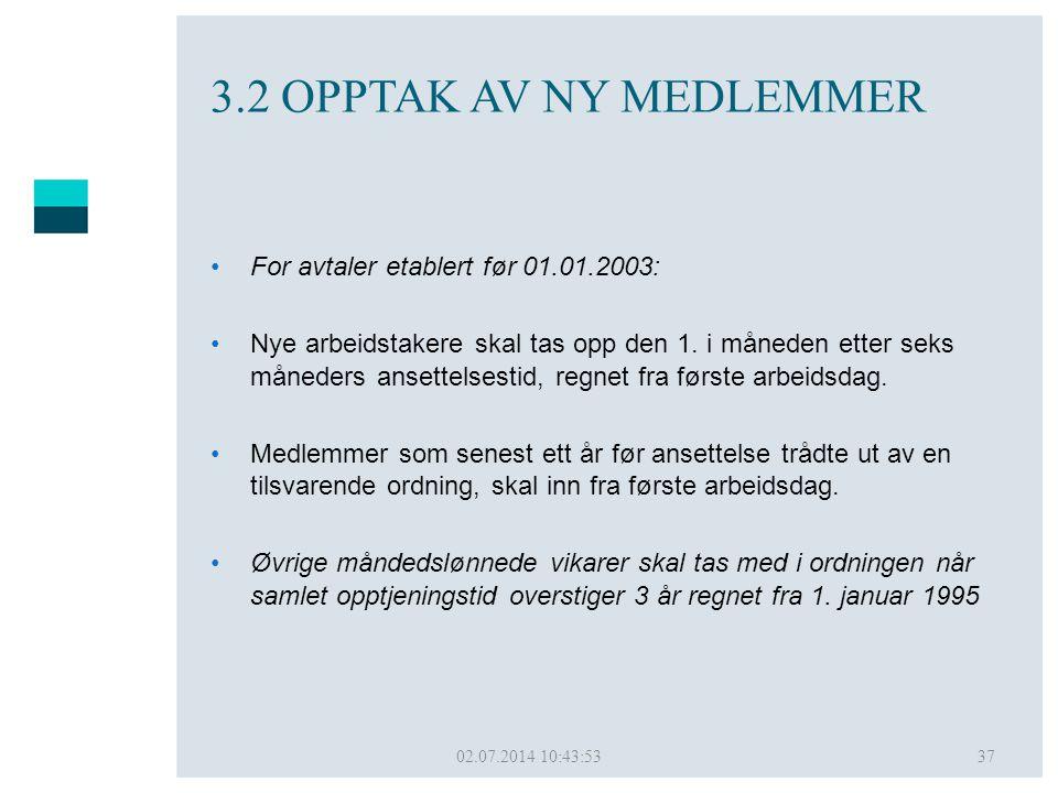 02.07.2014 10:45:5037 3.2 OPPTAK AV NY MEDLEMMER •For avtaler etablert før 01.01.2003: •Nye arbeidstakere skal tas opp den 1. i måneden etter seks mån