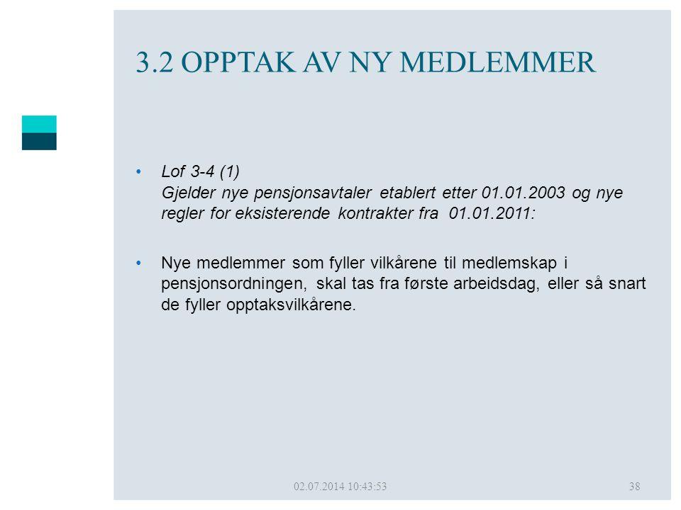 02.07.2014 10:45:5038 3.2 OPPTAK AV NY MEDLEMMER •Lof 3-4 (1) Gjelder nye pensjonsavtaler etablert etter 01.01.2003 og nye regler for eksisterende kon