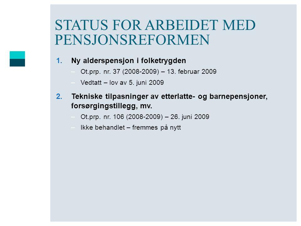 STATUS FOR ARBEIDET MED PENSJONSREFORMEN 1.Ny alderspensjon i folketrygden –Ot.prp. nr. 37 (2008-2009) – 13. februar 2009 –Vedtatt – lov av 5. juni 20