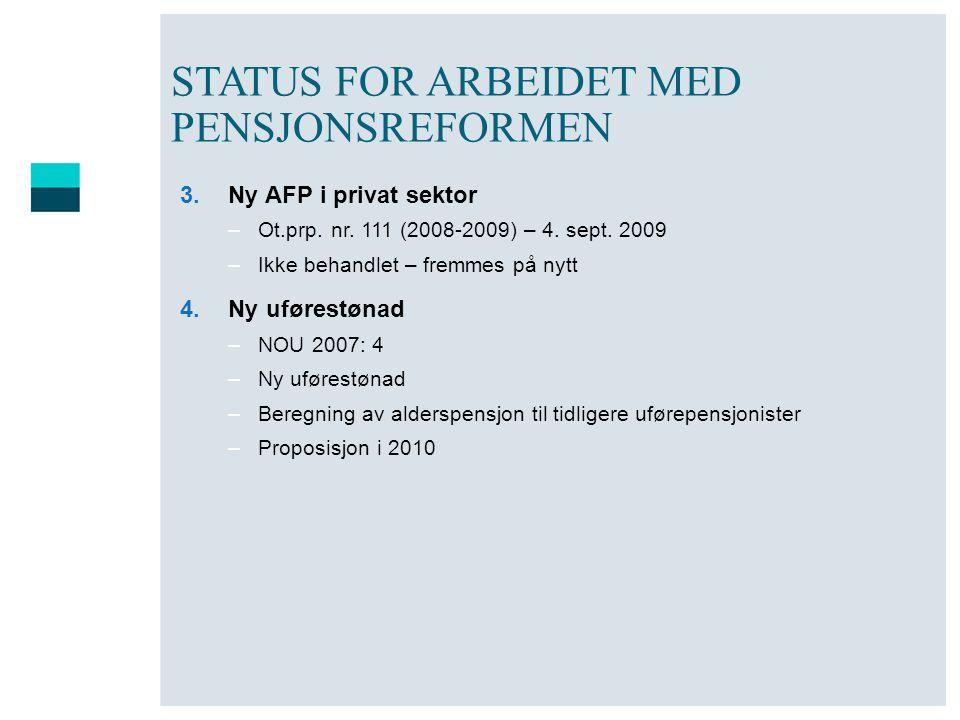 STATUS FOR ARBEIDET MED PENSJONSREFORMEN 3.Ny AFP i privat sektor –Ot.prp. nr. 111 (2008-2009) – 4. sept. 2009 –Ikke behandlet – fremmes på nytt 4.Ny