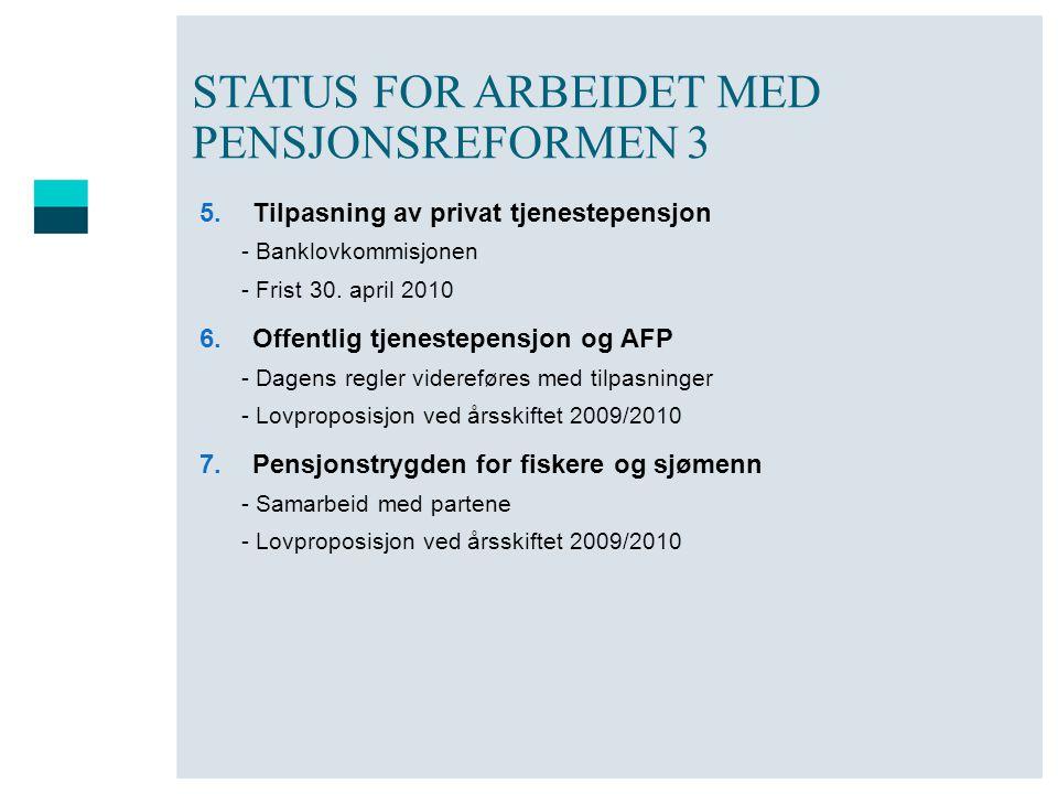 STATUS FOR ARBEIDET MED PENSJONSREFORMEN 3 5.Tilpasning av privat tjenestepensjon - Banklovkommisjonen - Frist 30. april 2010 6.Offentlig tjenestepens