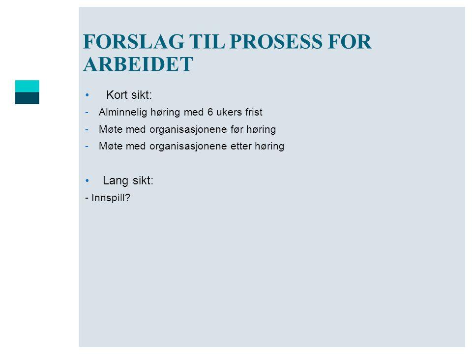 FORSLAG TIL PROSESS FOR ARBEIDET • Kort sikt: -Alminnelig høring med 6 ukers frist -Møte med organisasjonene før høring -Møte med organisasjonene ette