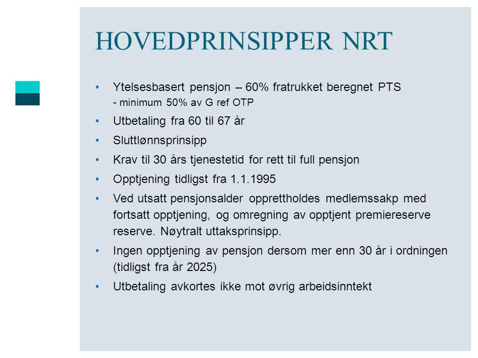 HOVEDPRINSIPPER NRT •Ytelsesbasert pensjon – 60% fratrukket beregnet PTS - minimum 50% av G ref OTP •Utbetaling fra 60 til 67 år •Sluttlønnsprinsipp •