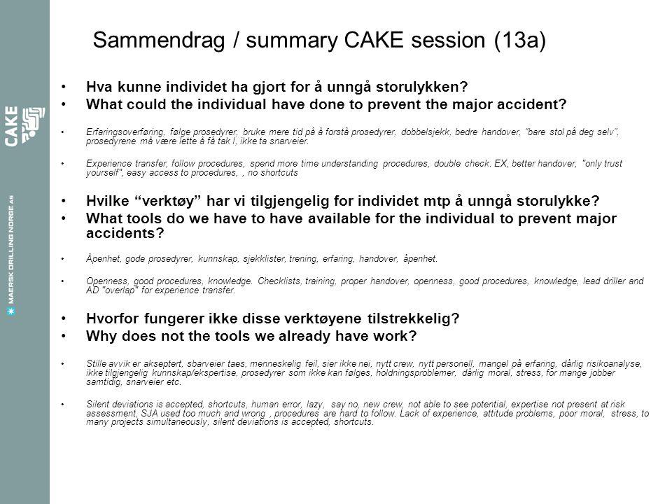 Sammendrag / summary CAKE session (13a) •Hva kunne individet ha gjort for å unngå storulykken.