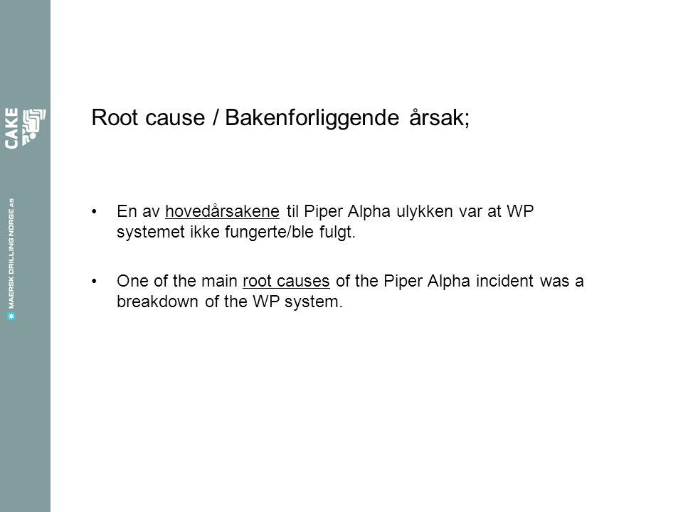 Root cause / Bakenforliggende årsak; •En av hovedårsakene til Piper Alpha ulykken var at WP systemet ikke fungerte/ble fulgt.