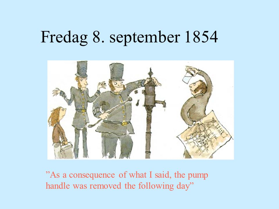 """Fredag 8. september 1854 """"As a consequence of what I said, the pump handle was removed the following day"""""""