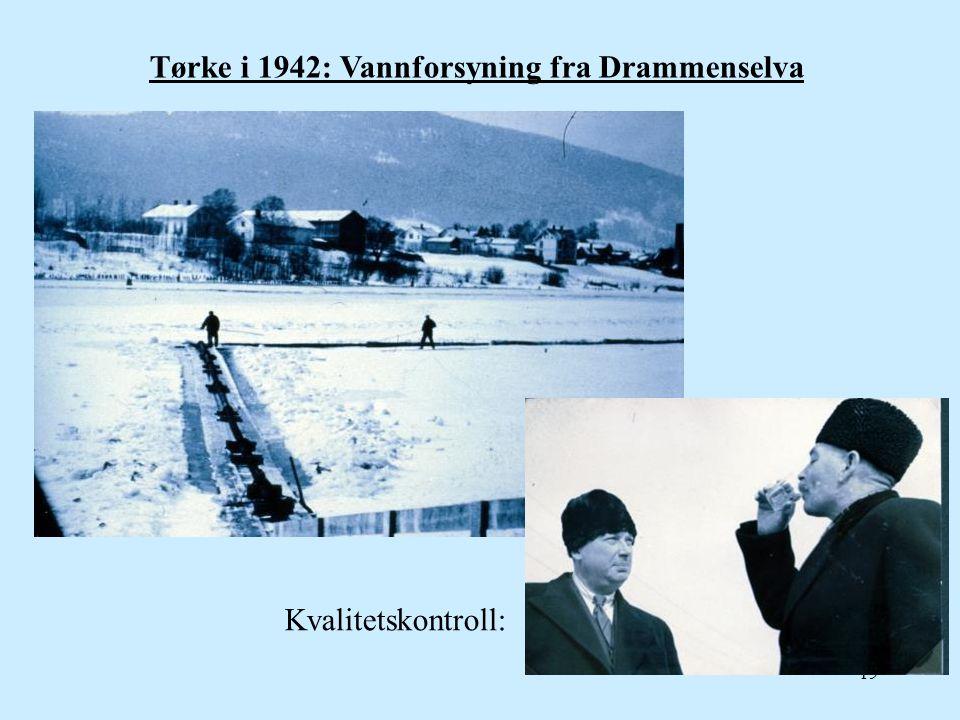 19 Tørke i 1942: Vannforsyning fra Drammenselva Kvalitetskontroll: