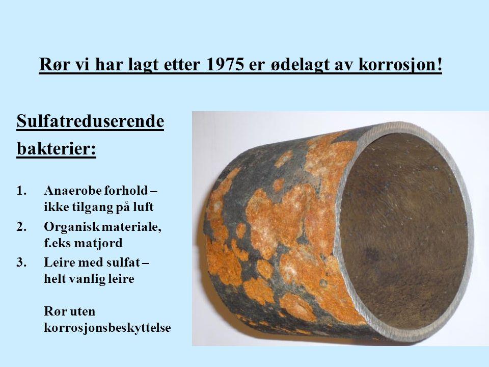 Rør vi har lagt etter 1975 er ødelagt av korrosjon! Sulfatreduserende bakterier: 1.Anaerobe forhold – ikke tilgang på luft 2.Organisk materiale, f.eks