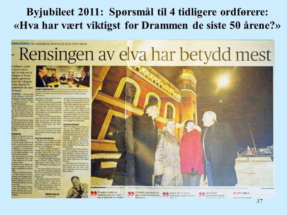37 Byjubileet 2011: Spørsmål til 4 tidligere ordførere: «Hva har vært viktigst for Drammen de siste 50 årene?»