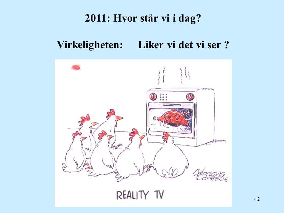 42 2011:Hvor står vi i dag? Virkeligheten: Liker vi det vi ser ?