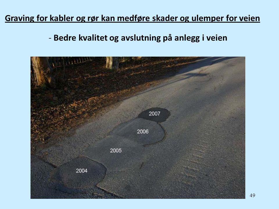 49 Graving for kabler og rør kan medføre skader og ulemper for veien - Bedre kvalitet og avslutning på anlegg i veien
