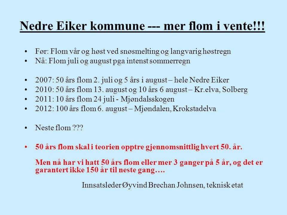 Nedre Eiker kommune --- mer flom i vente!!! •Før: Flom vår og høst ved snøsmelting og langvarig høstregn •Nå: Flom juli og august pga intenst sommerre