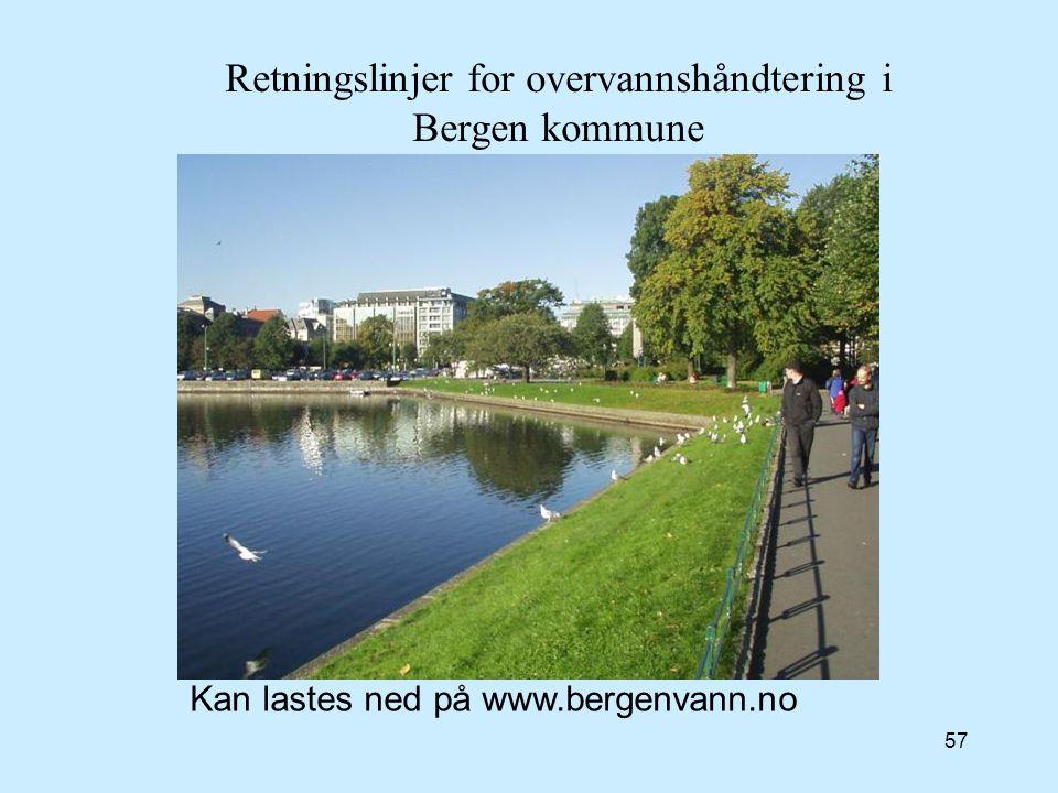 57 Retningslinjer for overvannshåndtering i Bergen kommune Kan lastes ned på www.bergenvann.no