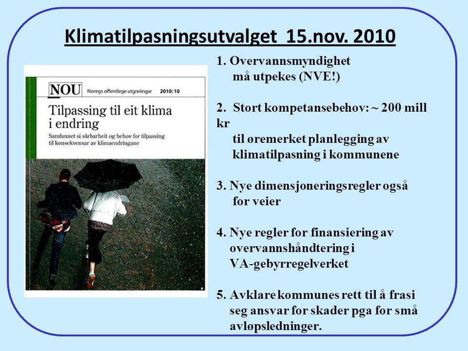 60 1. Overvannsmyndighet må utpekes (NVE!) 2. Stort kompetansebehov: ~ 200 mill kr til øremerket planlegging av klimatilpasning i kommunene 3. Nye dim