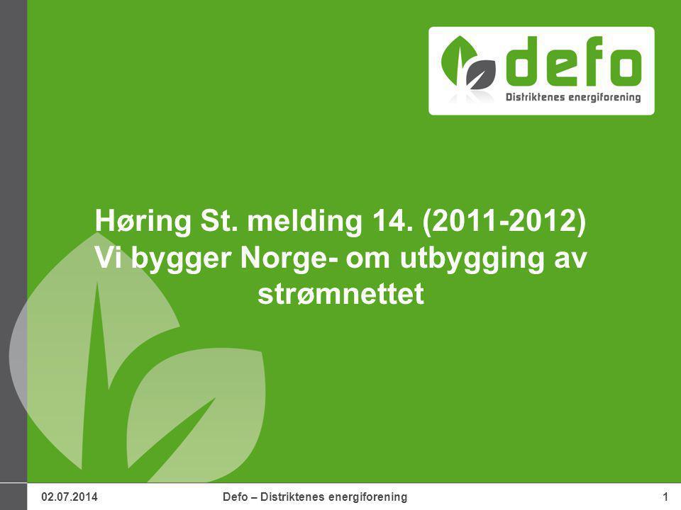 02.07.2014Defo – Distriktenes energiforening1 Høring St.