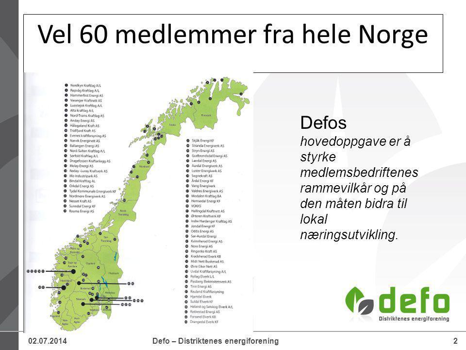02.07.2014Defo – Distriktenes energiforening2 Vel 60 medlemmer fra hele Norge Defos hovedoppgave er å styrke medlemsbedriftenes rammevilkår og på den måten bidra til lokal næringsutvikling.