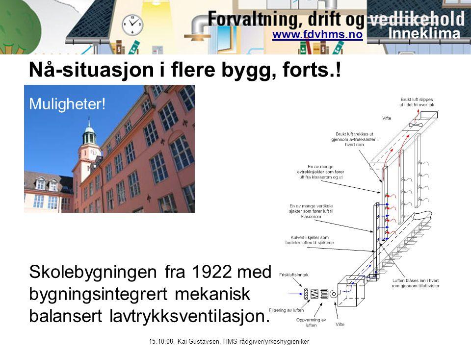 www.fdvhms.nowww.fdvhms.no Inneklima 15.10.08. Kai Gustavsen, HMS-rådgiver/yrkeshygieniker Skolebygningen fra 1922 med bygningsintegrert mekanisk bala