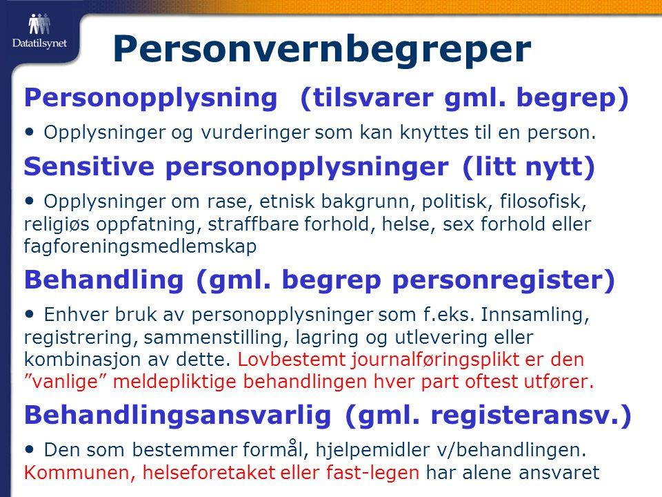 Personvernbegreper Personopplysning (tilsvarer gml.
