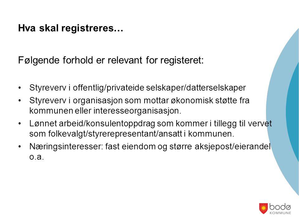 Hva skal registreres… Følgende forhold er relevant for registeret: •Styreverv i offentlig/privateide selskaper/datterselskaper •Styreverv i organisasjon som mottar økonomisk støtte fra kommunen eller interesseorganisasjon.