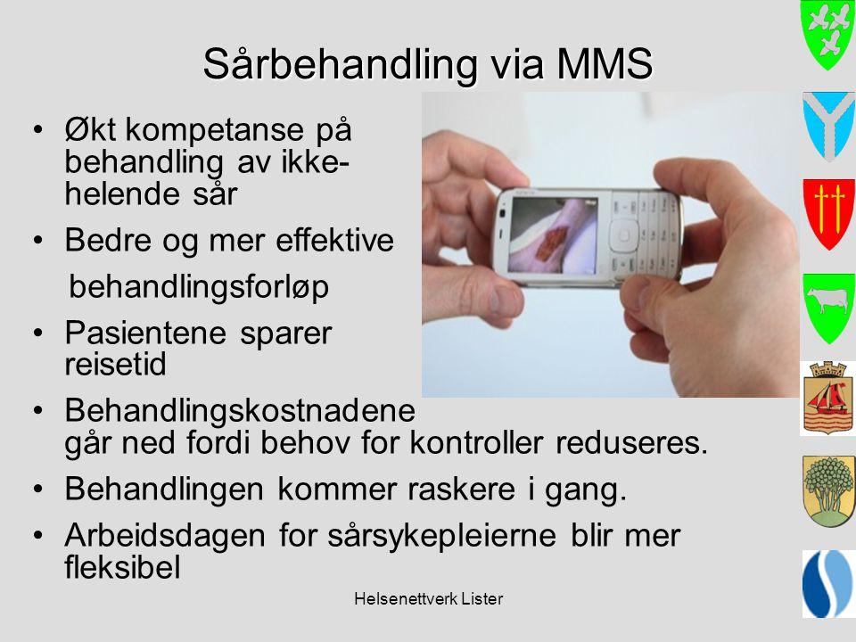 Helsenettverk Lister Sårbehandling via MMS •Økt kompetanse på behandling av ikke- helende sår •Bedre og mer effektive behandlingsforløp •Pasientene sp