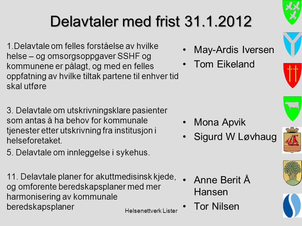 Helsenettverk Lister Delavtaler med frist 31.1.2012 1.Delavtale om felles forståelse av hvilke helse – og omsorgsoppgaver SSHF og kommunene er pålagt,