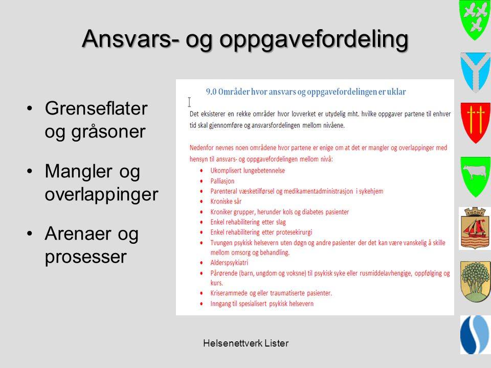 Helsenettverk Lister Ansvars- og oppgavefordeling •Grenseflater og gråsoner •Mangler og overlappinger •Arenaer og prosesser