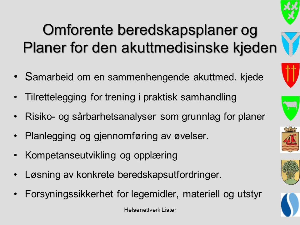 Helsenettverk Lister Omforente beredskapsplaner og Planer for den akuttmedisinske kjeden •S amarbeid om en sammenhengende akuttmed. kjede •Tilretteleg